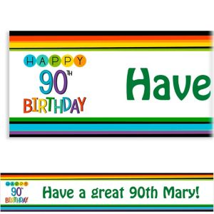 Custom Rainbow 90th Birthday Banner