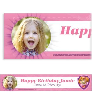 Custom Pink PAW Patrol Photo Banner