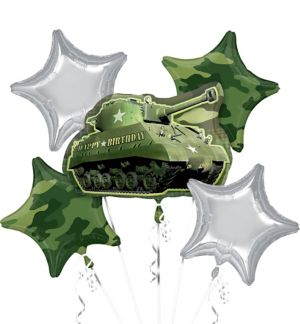 Camouflage Birthday Balloon Bouquet 5pc