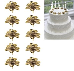 Gold Flower Candle Holder Cake Toppers 10ct