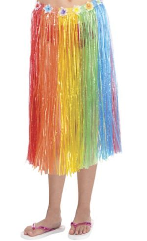Adult Long Rainbow Hula Skirt