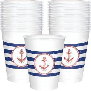 Striped Nautical Plastic Cups 25ct