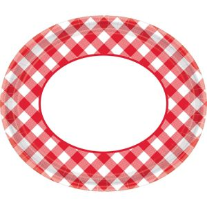 Red Gingham Oval Plates 18ct