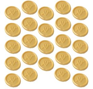 Gold Heart Wax Envelope Seals 24ct