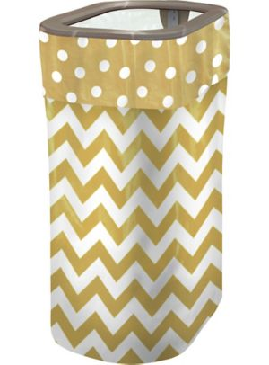 Gold Polka Dot & Chevron Pop-Up Trash Bin