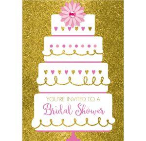 Gold Glitter Wedding Cake Bridal Shower Invitations 8ct
