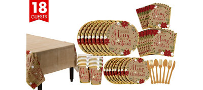 Merry Little Christmas Kraft Tableware Kit for 18 Guests