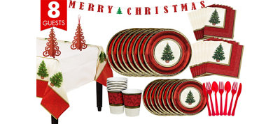 Classic Christmas Tree Tableware Kit for 8 Guests