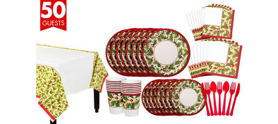 Winter Holly Tableware Kit for 50 Guests