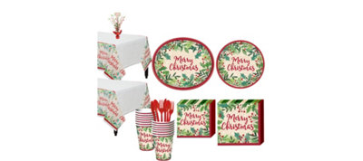 Holly Merry Christmas Tableware Kit for 16 Guests