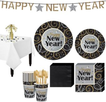 Sparkling NY Party Super Tableware Kit for 8 guests