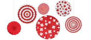 Canadian Maple Leaf Paper Fan Decorations 6ct