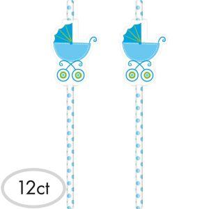 Blue Stroller Baby Shower Paper Straws 12ct