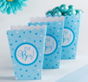 Blue It's a Boy Baby Shower Popcorn Boxes 20ct