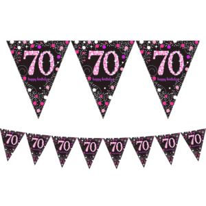 Prismatic 70th Birthday Pennant Banner - Pink Sparkling Celebration