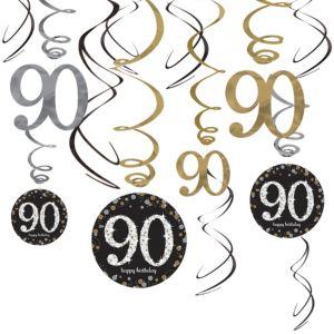90th Birthday Swirl Decorations 12ct - Sparkling Celebration