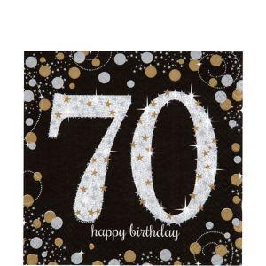 70th Birthday Lunch Napkins 16ct - Sparkling Celebration