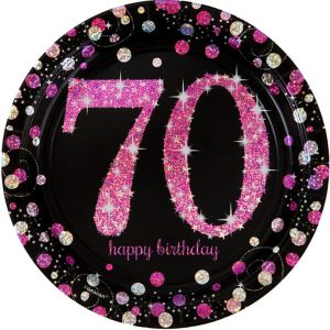 Prismatic 70th Birthday Lunch Plates 8ct - Pink Sparkling Celebration