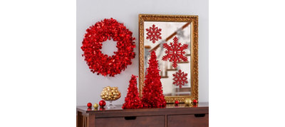 Red Christmas Table & Mirror Decorating Kit