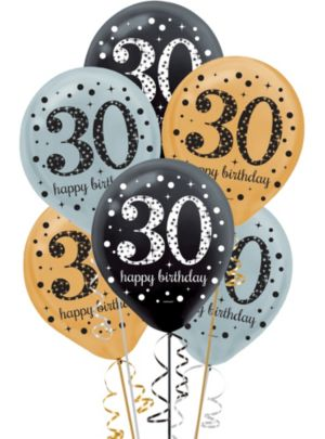 30th Birthday Balloons 15ct - Sparkling Celebration