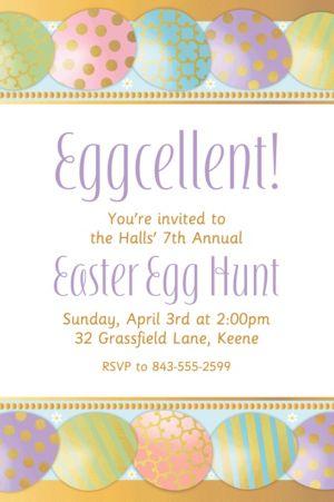 Custom Golden Easter Egg Invitation
