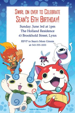 Custom Yo-Kai Watch Invitation