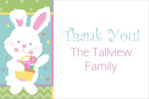 Custom Hippity Hop Easter Bunny Thank You Note