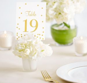 Gold Table Number Cards 1-20