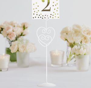 White Heart Table Number Holder