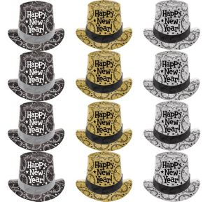 Black, Gold & Silver New Year's Top Hats 12ct