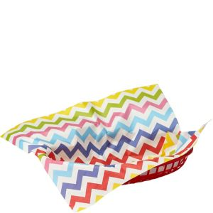 Bright Rainbow Chevron Paper Basket Liners 16ct