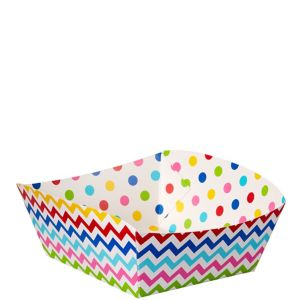 Bright Rainbow Polka Dot & Chevron Square Paper Food Trays 16ct