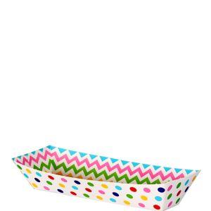 Small Bright Rainbow Polka Dot & Chevron Rectangular Paper Food Trays 16ct