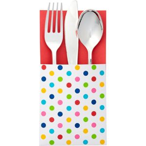 Bright Rainbow Polka Dot Cutlery Holders 16ct