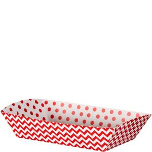 Red Polka Dot & Chevron Rectangular Paper Food Trays 16ct