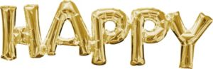 Air-Filled Gold Happy Letter Balloon Banner
