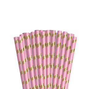 Metallic Gold & Pink Striped Paper Straws 24ct