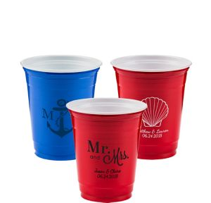 Personalized Wedding Solid Color Plastic Party Cups 12oz