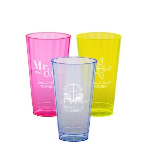 Personalized Wedding Neon Hard Plastic Cups 16oz
