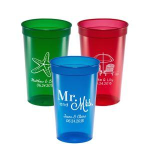 Personalized Wedding Translucent Plastic Stadium Cups 22oz