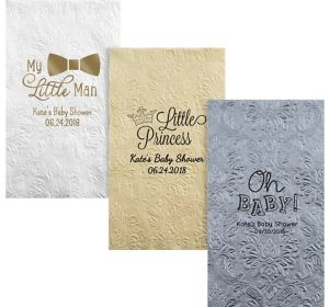 Personalized Baby Shower Embossed Damask Guest Towels