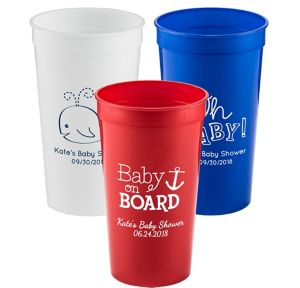 Personalized Baby Shower Plastic Stadium Cups 32oz