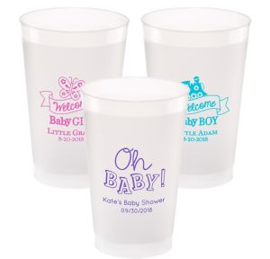 Personalized Baby Shower Frosted Plastic Shatterproof Cups 24oz