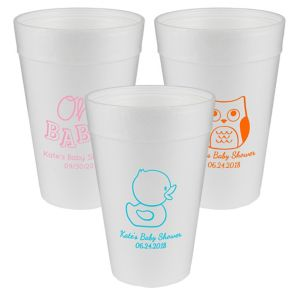 Personalized Baby Shower Foam Cups 32oz