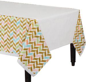 Pastel & Gold Herringbone Table Cover