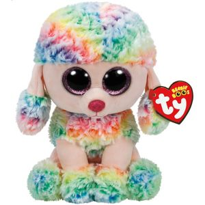 Large Rainbow Beanie Boo Poodle Dog Plush