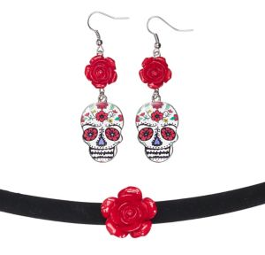 Day of the Dead Earrings with Choker