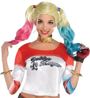 Adult Harley Quinn Shirt & Glove Accessory Kit - Suicide Squad