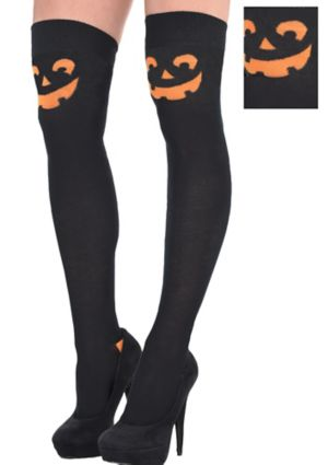 Adult Jack-o'-Lantern Knee Socks