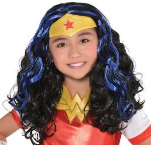 Child Black & Blue Wonder Woman Wig - DC Super Hero Girls
